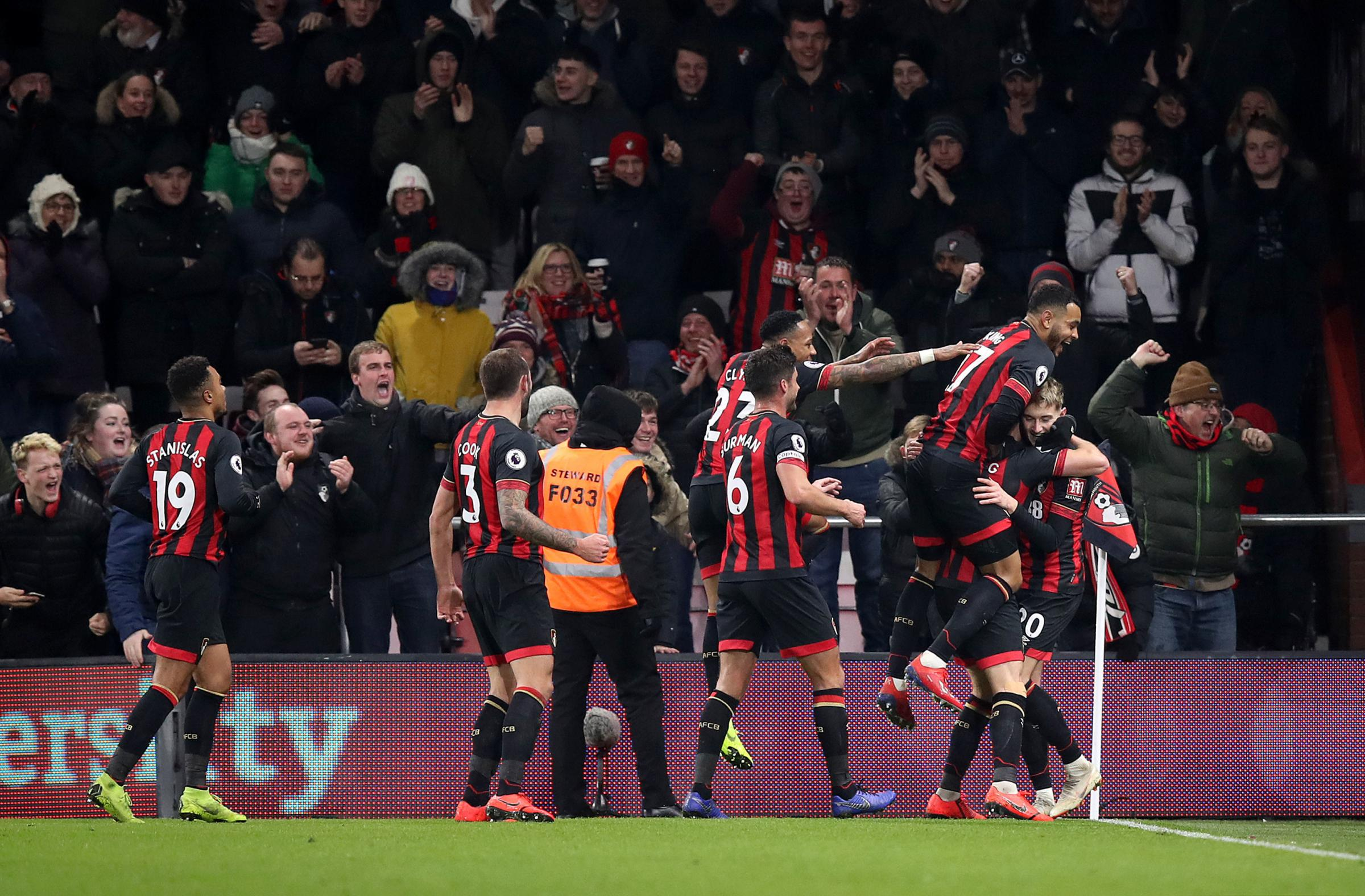 Bournemouth's David Brooks (right) celebrates scoring his side's second goal of the game against Chelsea. Picture: Andrew Matthews/ PA Wire