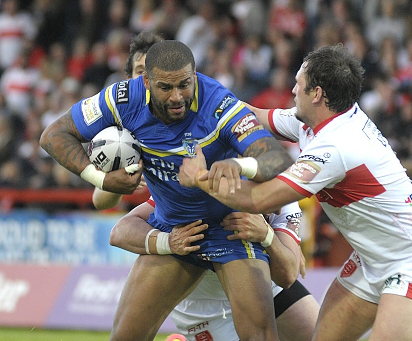 Ryan Bailey on the attack for Warrington Wolves against Hull Kingston Rovers in 2016. Picture: Mike Boden