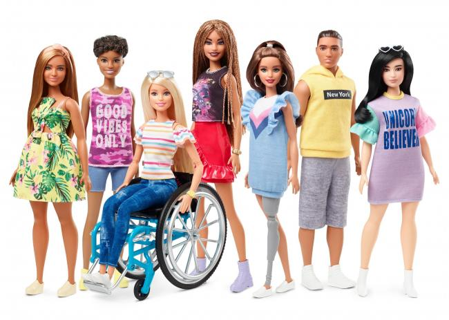 The new range of Barbies includes a doll in a wheelchair and another with a prosthetic leg