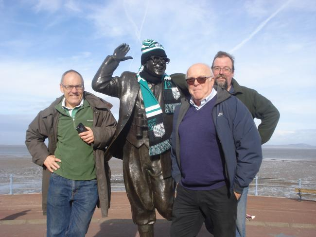 Some Lymm supporters detoured to Morecambe on their way to watch their side at Vale of Lune, and their visit to Eric Morecambe's statue proved lucky