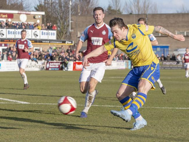 Jack Dunn scores for Yellows in their last trip to South Shields in February. Picture by John Hopkins