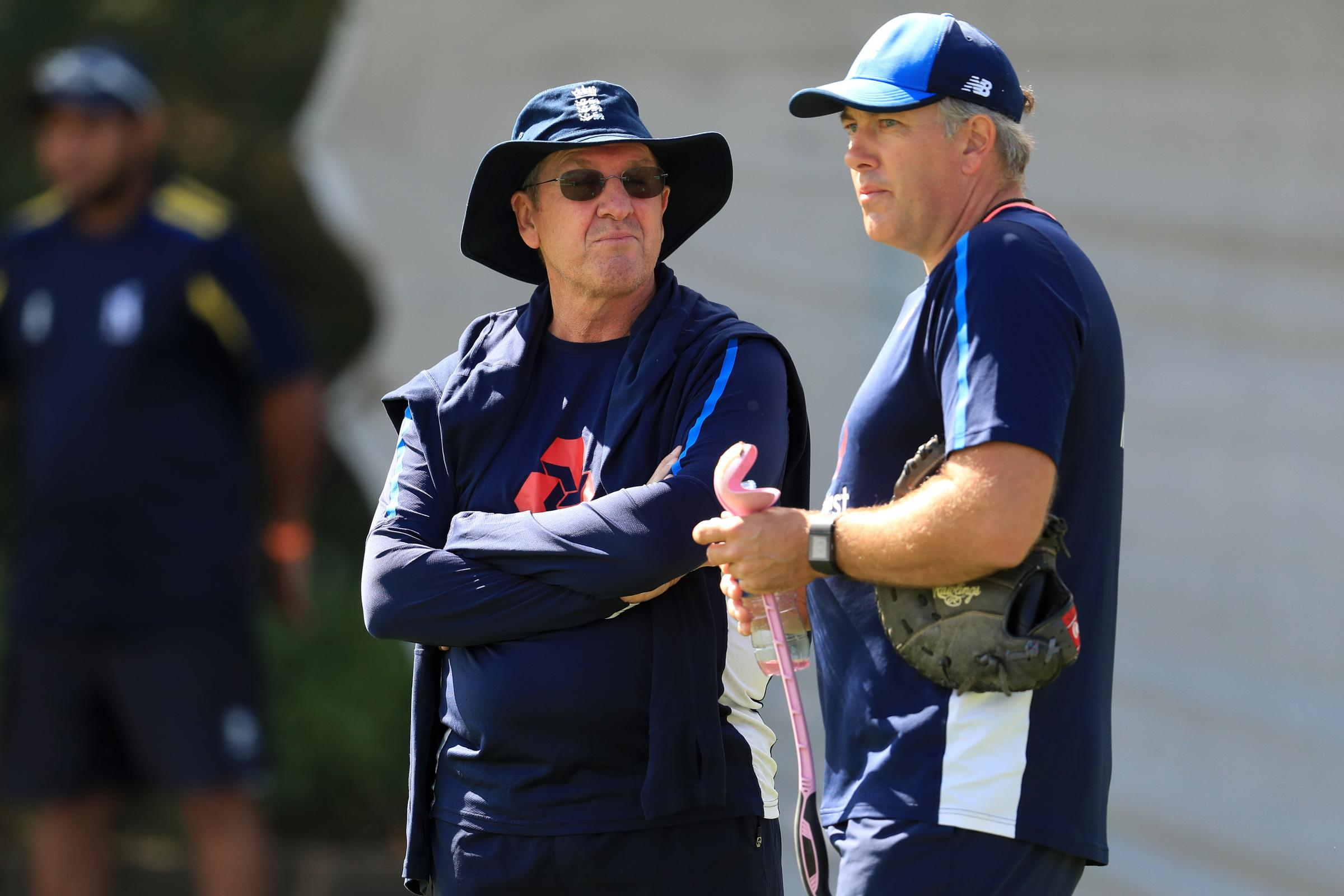 Chris Silverwood, right, with Trevor Bayliss