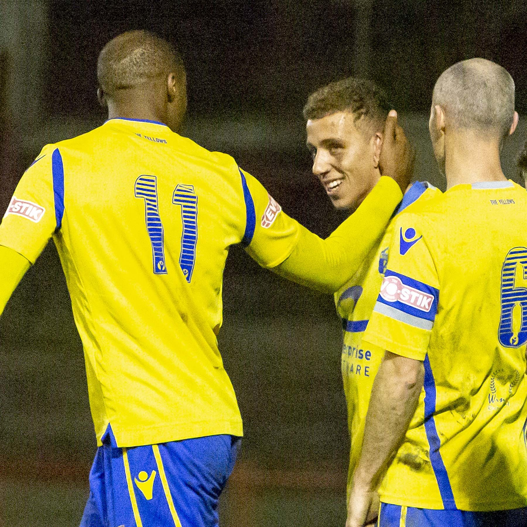 Dylan Vassallo is congratulated after scoring at Workington. Picture by John Hopkins