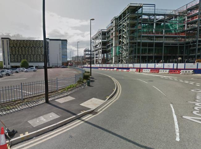 The mobility scooter driver was arrested on Academy Way in the town centre. Picture by Google Maps.