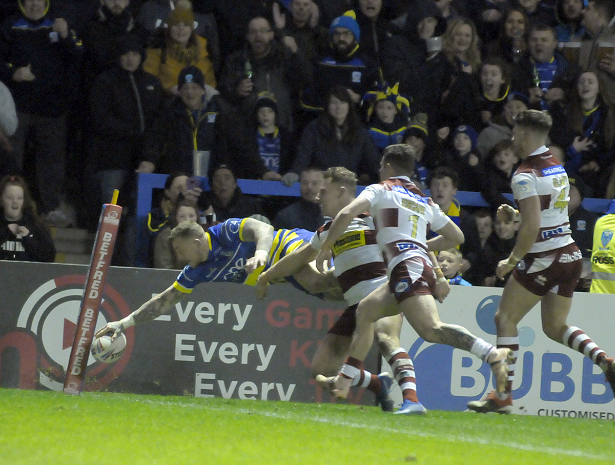 Josh Charnley scores against his former club. Picture: Mike Boden