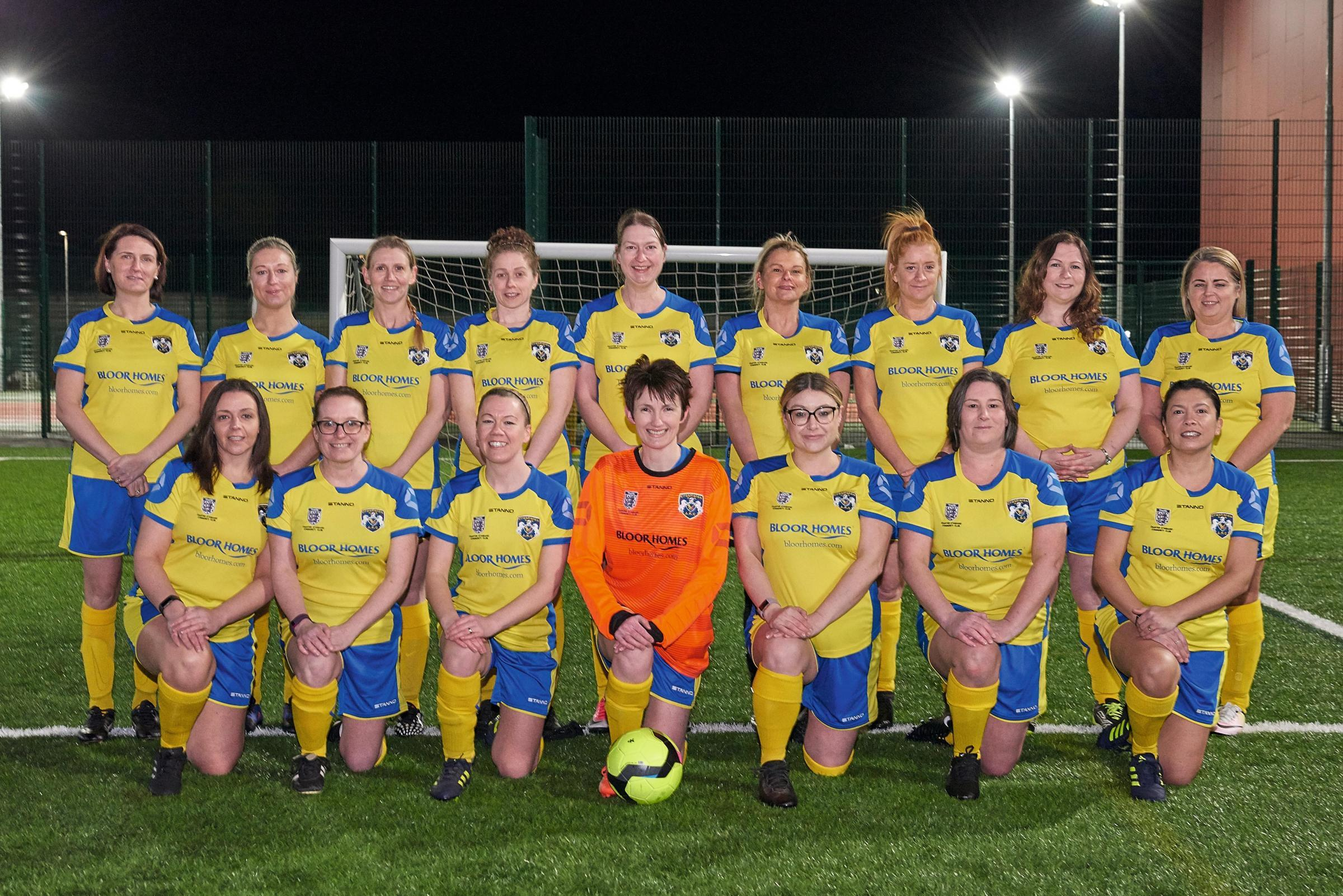 The Crosfields Ladies veterans team at the start of their debut season