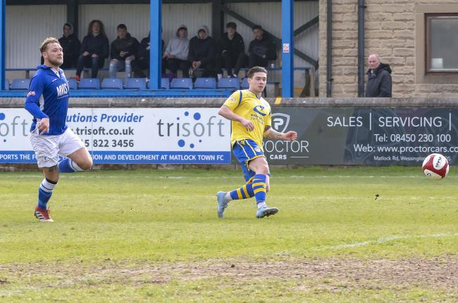 Jack Dunn scores Yellows' opener in the win at Matlock. Picture by John Hopkins