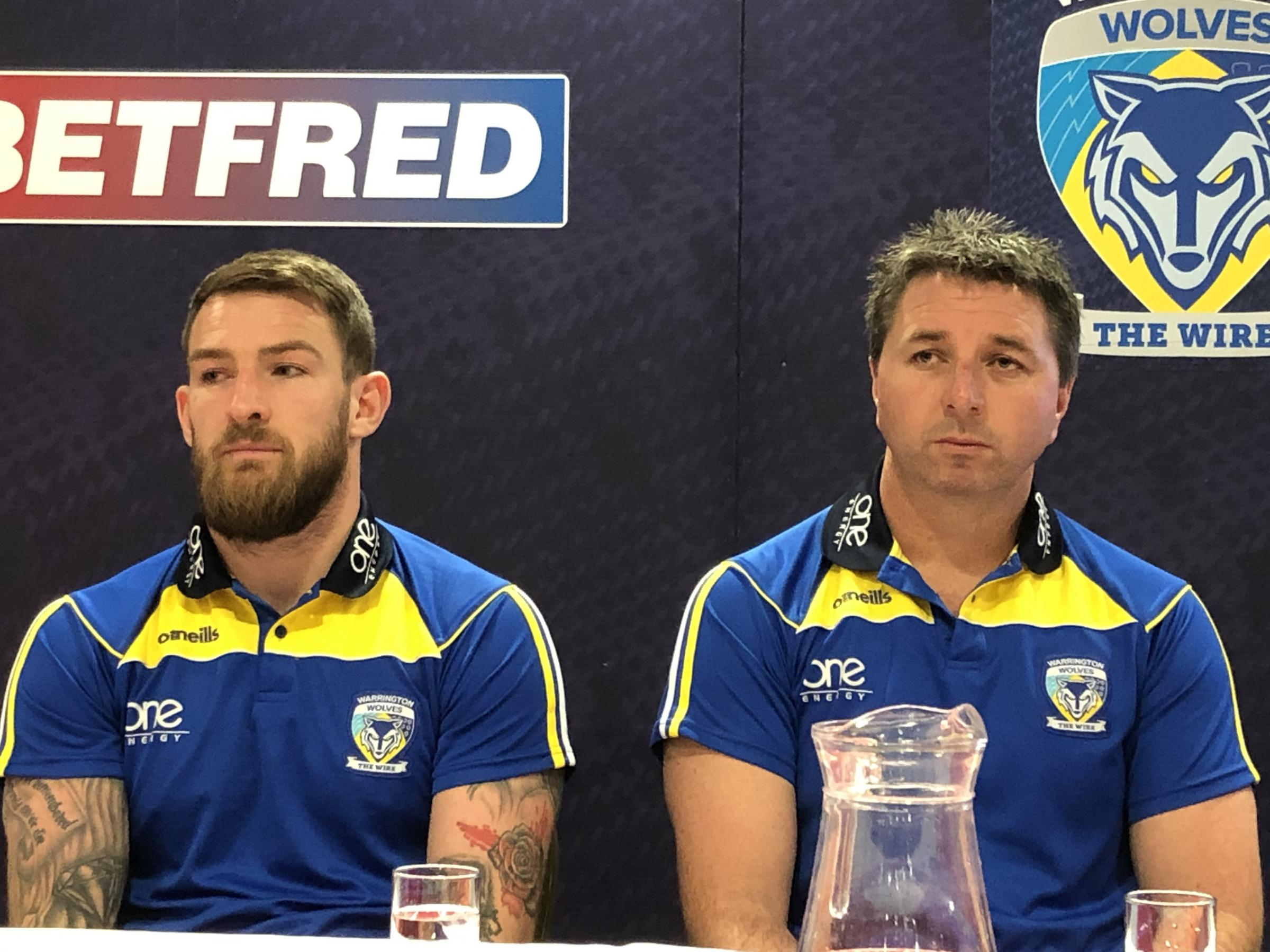 Steve Price at Tuesday's joint press conference previewing The Wire's clash with St Helens