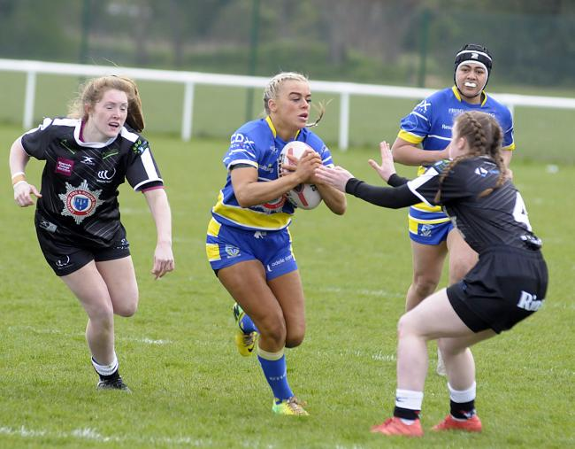 Sammy Simpson scored twice for the Wire Women at Huddersfield. Picture by Mike Boden