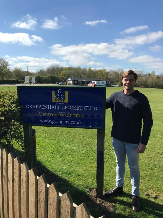 Olly Knight gets used to his new surroundings at Grappenhall Cricket Club