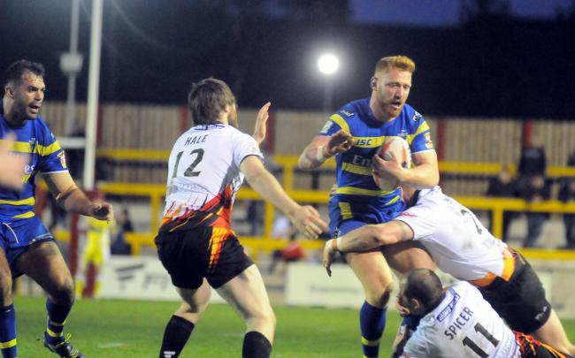 James Laithwaite in action for The Wire during a Challenge Cup tie at Dewsbury in 2015. Picture by Mike Boden