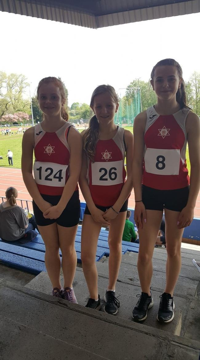 From left, hurdlers Evie Schofield, Lisa Halliday and Meg Corker
