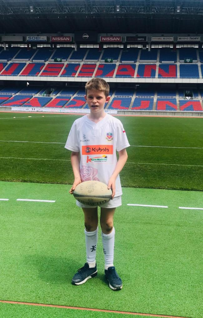 Luke Kelly, looking good in his England kit at the Nissan Stadium, also known as the International Stadium in Yokohama