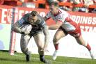 Josh Charnley scored against Hull KR but had to be taken off with an ankle injury. Picture by Mike Boden