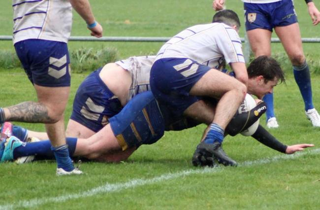 Crosfields score a try during Saturday's defeat to Barrow Island