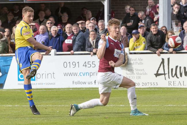Dylan Vassallo, here scoring against South Shields, is staying with Warrington Town. Picture by John Hopkins