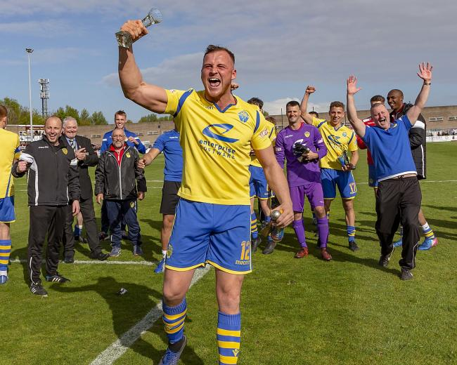 Josh Amis celebrates Saturday's win over South Shields. Picture by John Hopkins