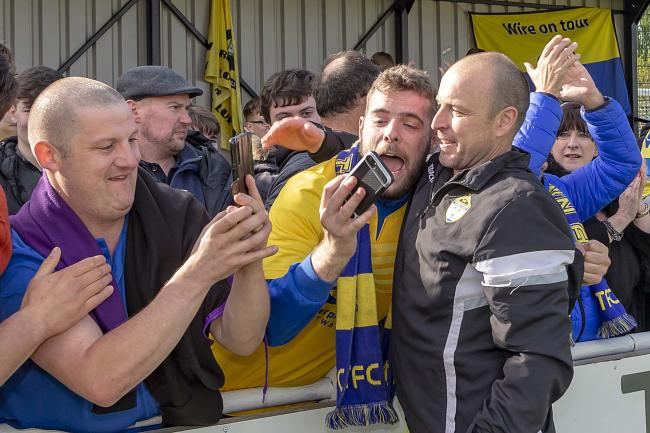 Paul Carden celebrates last week's win over South Shields with Yellows fans. Picture by John Hopkins