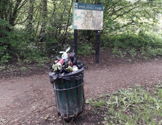 Bins overflowing with dog poo in Peel Hall Park