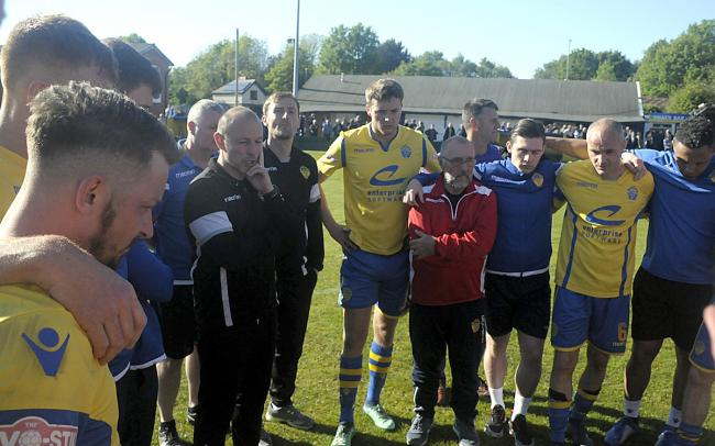The Warrington Town players reflect upon their super play-off defeat. Picture by Mike Boden