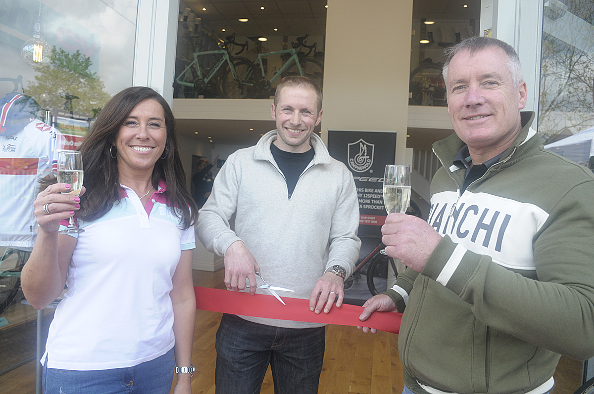 Jason Kenny with Suzi and Paul Spencer at the official opening of the new Ron Spencer Cycles store.