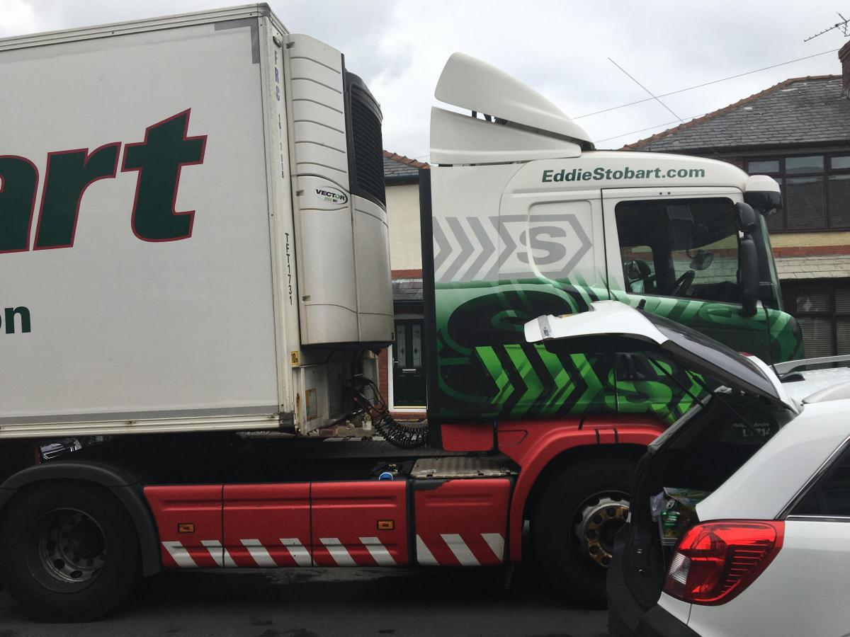 A lorry stuck on East View in Grappenhall