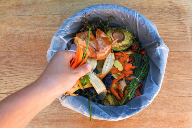 A bin filled with food waste