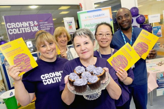 Left, Emma Canning, endoscopy nurse, Janet Monfield, a patient, Tina Law, specialist nurse, Rebekah Chann, research nurse and doctor Timi Patani