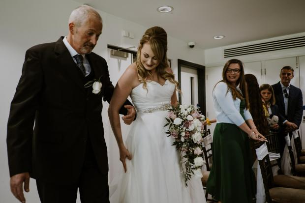 Warrington Guardian: John with his daughter on her wedding day