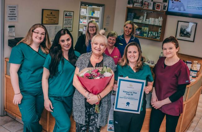 Staff at Beech House Veterinary Centre celebrate their fantastic achievement