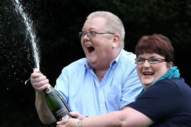 Colin and Chris Weir celebrate winning a £161m EuroMillions jackpot