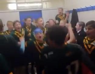 Great scenes in the changing rooms as the Great Sankey High School year seven boys book their place at Wembley