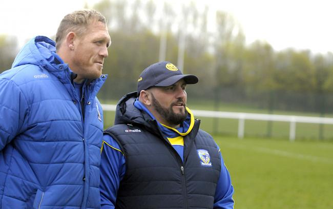 Warrington Wolves Women head coach Lee Westwood and assistant coach Ben Westwood. Picture by Mike Boden
